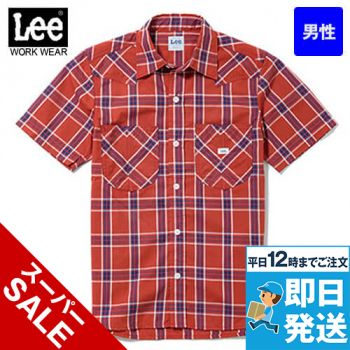 LCS46008 Lee ウエスタンチェック半袖シャツ(男性用)