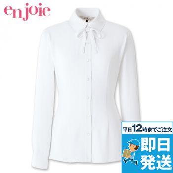 en joie(アンジョア) 01172 [通年]ボウタイ風リボンが大人可愛いベーシックな長袖ブラウス(リボン付) 93-01172