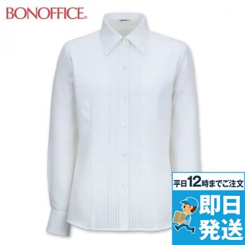 RB4140 BONMAX/リサール 知的な雰囲気を醸し出す胸元のピンタック 長袖ブラウス 36-RB4140
