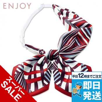 EAZ724 enjoy シャープな幾何学柄で凛としたクラシカルな印象のリボンスカーフ