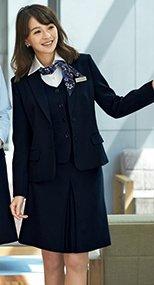 en joie(アンジョア) 51414 スタイルよく見せる美しいシルエットのボックススカート 無地 93-51414