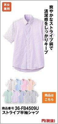 半袖ストライプの紫シャツ