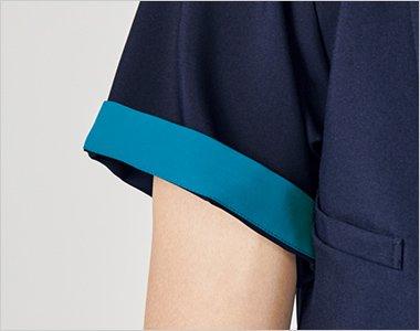 折り返して着られる袖デザインは、袖口のインナーカラーが折り返した際のアクセントに。