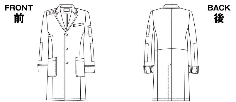 1538PP FOLK(フォーク)×Dickies ドクターコート デニム風パイピングのハンガーイラスト・線画