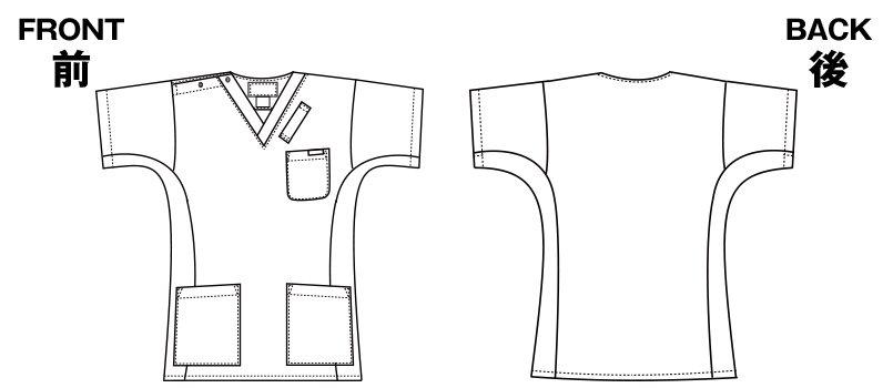 7013SC FOLK(フォーク) 国境なき医師団 スクラブ(男女兼用)のハンガーイラスト・線画