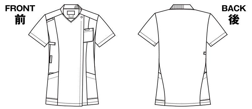 7038SC FOLK(フォーク) レディス ジップスクラブのハンガーイラスト・線画