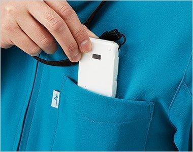 PHSポケット付きで便利な左胸ポケット