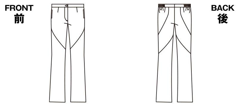 HI300 ワコール レディースブーツカットパンツ 股下フリーのハンガーイラスト・線画