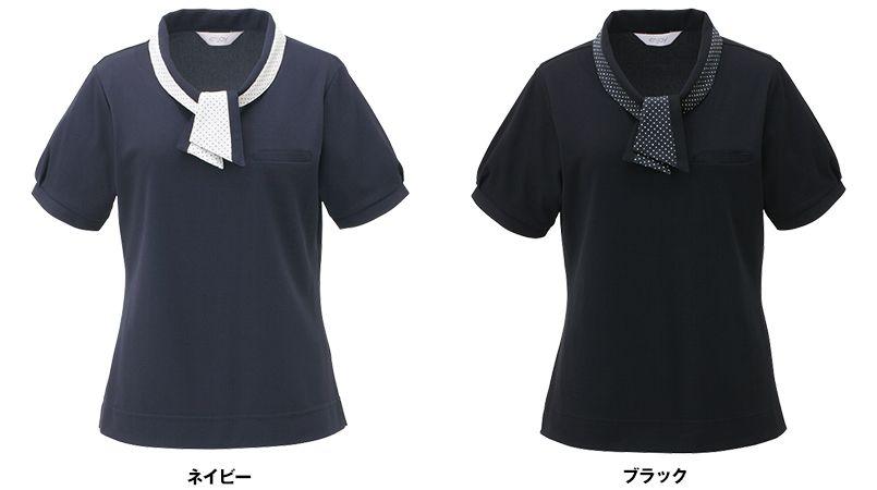 ESP404 enjoy 愛らしさを品よく生み出す繊細なフレンチドットのオフィスポロシャツ 無地 色展開