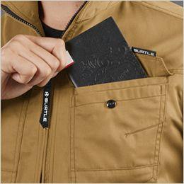 バートル 1716 [春夏用]T/Cライトチノ半袖ジャケット(男女兼用) レベルブック収納ポケット付き(深さ21cm)