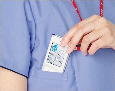7022SC FOLK(フォーク) レディス ジップスクラブ(女性用)  PHSの出し入れがしやすいサイズと位置を考慮してポケットを設けています。