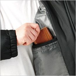 自重堂 48483 メガヒート裏アルミ防寒ハーフコート(フード付・取り外し可能)  内ポケット
