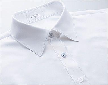 ESB494 enjoy 肌に優しいソフトタッチで透けにくく1枚着でも安心な半袖シャツブラウス 2色から選ぶ