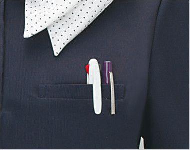 ESP404 enjoy 愛らしさを品よく生み出す繊細なフレンチドットのオフィスポロシャツ 無地 便利なポケット