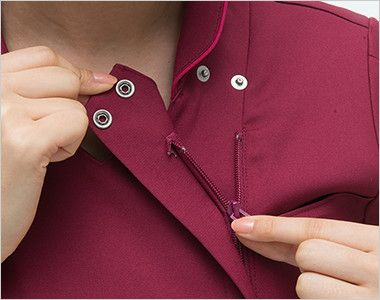 ML1142 ナガイレーベン(nagaileben) エムエル ハイブリッドメディウェア チュニック(女性用) 襟の内側はボタンとファスナー