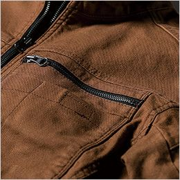 ジーベック 2174 現場服 ストレッチ長袖シャツ ポケットはファスナー仕様