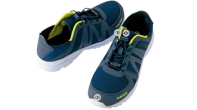 AZ51655 アイトス タルテックス セーフティシューズ(男女兼用) 結ばないゴム靴ひも 樹脂先芯 商品詳細・こだわりPOINT