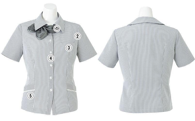 BONMAX AJ0831 [春夏用]ケイティー オーバーブラウス チェック スカーフ付き 商品詳細・こだわりPOINT