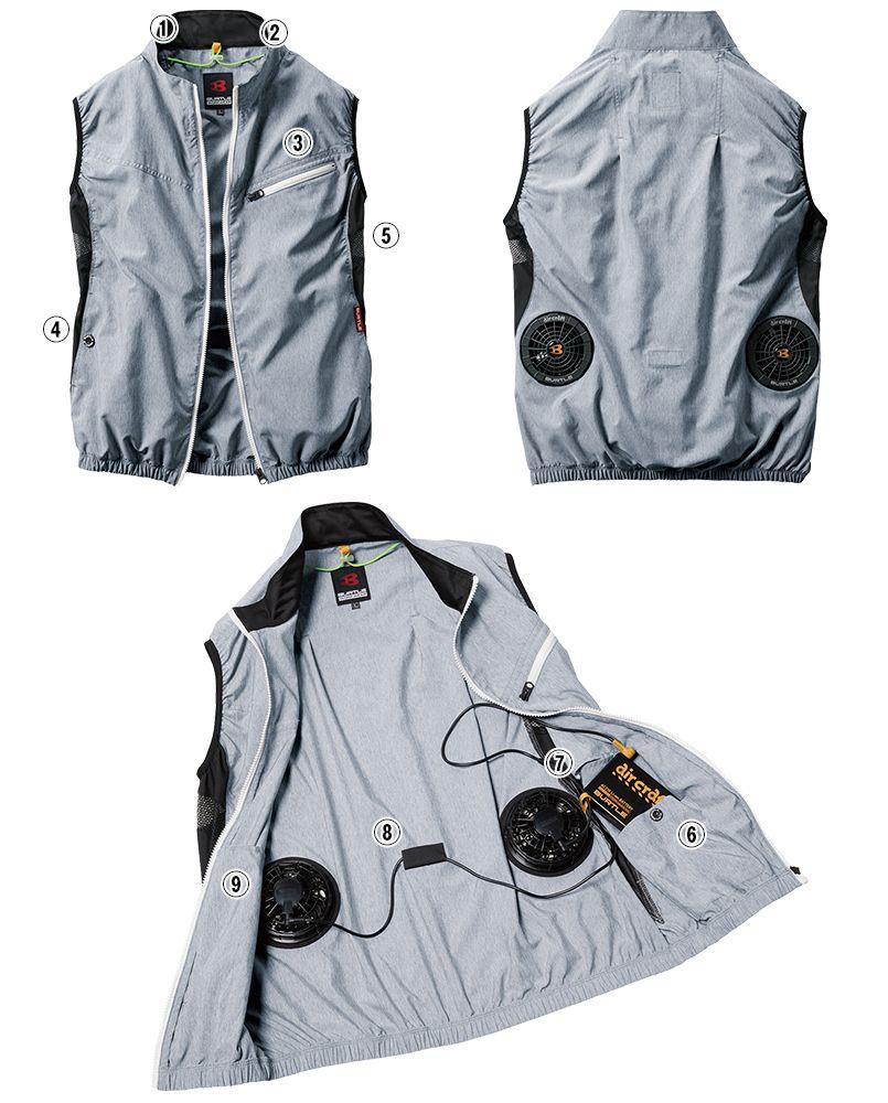 AC1024 バートル エアークラフト[空調服]迷彩ベスト(男女兼用) ポリ100% 商品詳細・こだわりPOINT