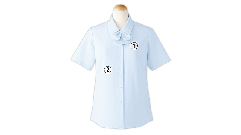 S-36692 36693 36696 36698 SELERY(セロリー) [通年]敏感肌の方も安心!清潔加工の半袖ブラウス(リボン付) 商品詳細・こだわりPOINT
