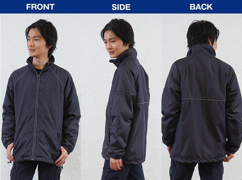 AZ2203 アイトス リフレクト裏フリースジャケット(男女兼用) モデル前後(メンズ)
