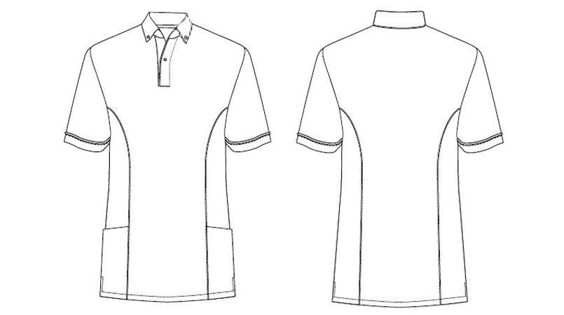 AZ7668 アイトス ペップ サイドポケット半袖ポロシャツ(男女兼用)(6.3オンス) ハンガーイラスト・線画