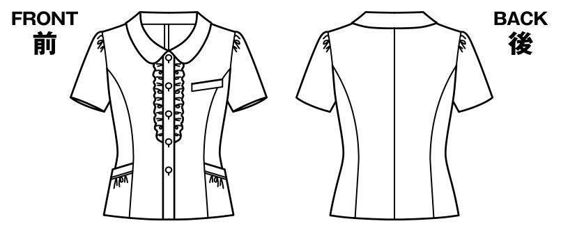 AJ0826 BONMAX/セフィーロ オーバーブラウス チェック ハンガーイラスト・線画