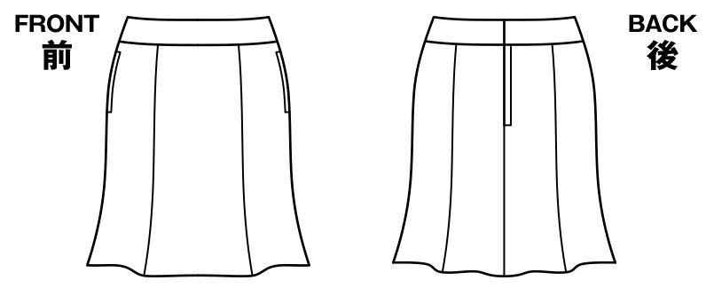 BONMAX AS2256 [通年]トリクシオンヘリンボーン マーメイドスカート 無地 ハンガーイラスト・線画