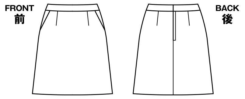 BONMAX AS2275 [通年]ジュビリー Aラインスカート 無地 ストレッチ&抗菌防臭加工 ハンガーイラスト・線画