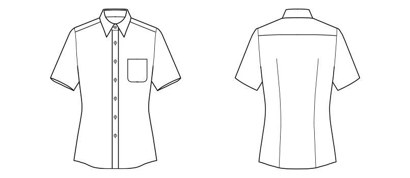 FB4031L FACEMIX 吸水速乾ブラウス/半袖(女性用) ハンガーイラスト・線画