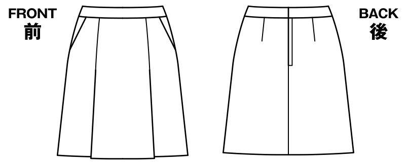 BONMAX LS2751 [春夏用]プラティーヌ プリーツスカート 無地 ハンガーイラスト・線画