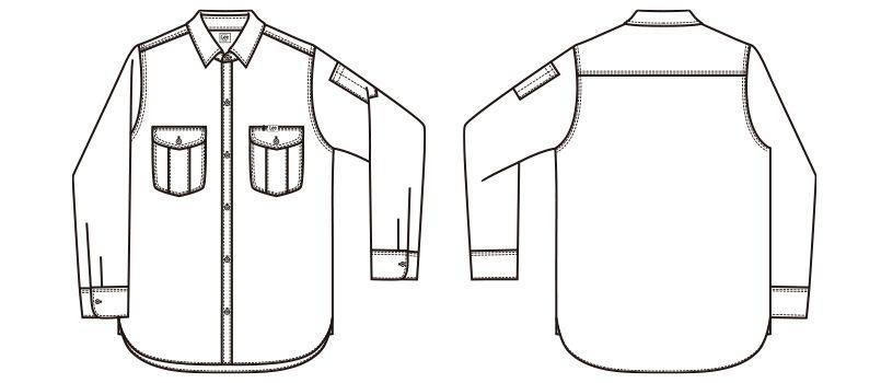 LWS43001 Lee ワーク長袖シャツ(女性用) ハンガーイラスト・線画
