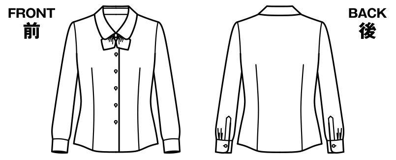 RB4152 BONMAX/リサール 優しげな風合いでワッフル生地の長袖ブラウス ハンガーイラスト・線画