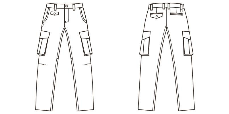 RP6904 ROCKY ツイルカーゴパンツ(男女兼用) ハンガーイラスト・線画