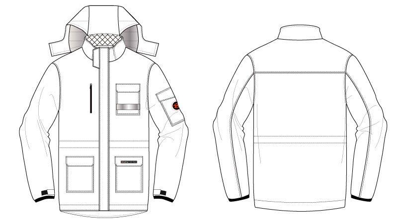 バートル 7211 サーモトロン防寒コート(大型フード付)(男女兼用) ハンガーイラスト・線画