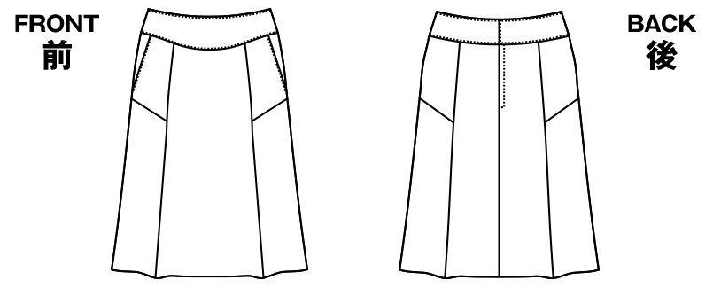 AR3841 アルファピア [秋冬用]セミフレアースカート ミニヘリンボーン ハンガーイラスト・線画
