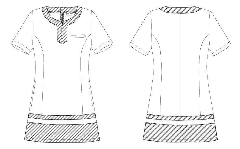 CL-0203 キャララ(Calala) チュニック 裾ブラック(女性用) ハンガーイラスト・線画