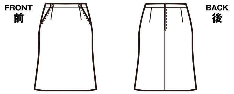 FS45738 nuovo(ヌーヴォ) マーメイドスカート(アジャスター付) 無地 ハンガーイラスト・線画