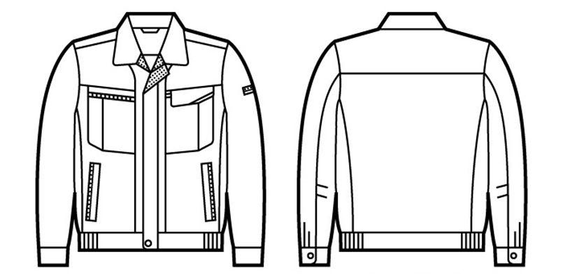 43800 自重堂 エコ 5バリュー長袖ブルゾン(製品制電JIS T8118適合) ハンガーイラスト・線画