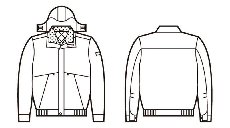 自重堂 48340 シンサレート防水防寒ブルゾン(フード付き・取り外し可能) ハンガーイラスト・線画