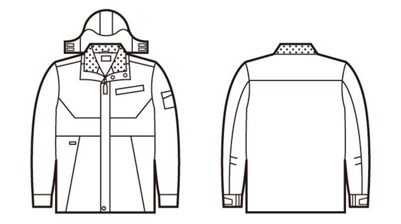 自重堂 48383 シンサレートウルトラ防水防寒コート(フード付・取り外し可能) ハンガーイラスト・線画