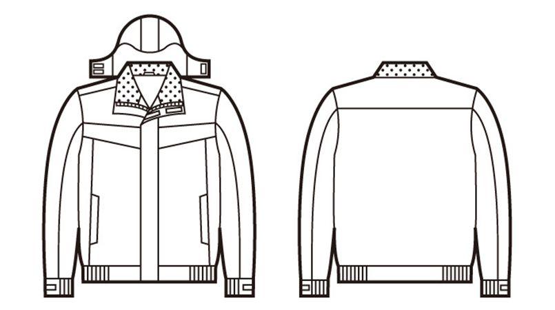 自重堂 48460 防水防寒ブルゾン(フード付き・取り外し可能) ハンガーイラスト・線画