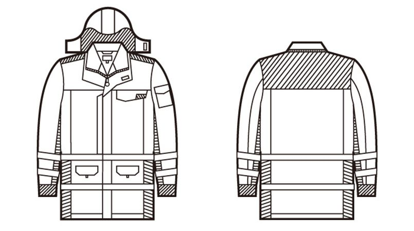 48473 自重堂 高視認性安全服 防水防寒コート(フード付) ハンガーイラスト・線画