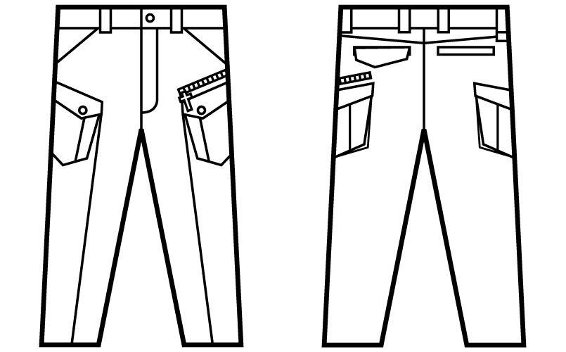 自重堂 52402 [秋冬用]JAWIN ノータックカーゴパンツ(新庄モデル) ハンガーイラスト・線画