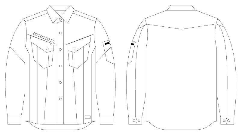 自重堂JAWIN 56404 [春夏用]長袖シャツ(新庄モデル) ハンガーイラスト・線画