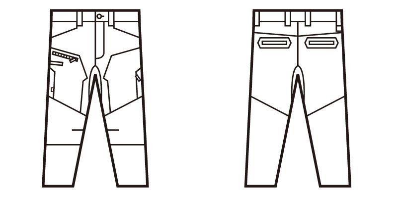 自重堂Z-DRAGON 71802 ストレッチノータックカーゴパンツ フルハーネス対応 ハンガーイラスト・線画