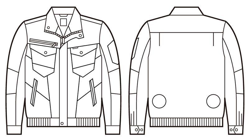 自重堂Z-DRAGON 74000 [春夏用]空調服 綿100% 長袖ブルゾン ハンガーイラスト・線画