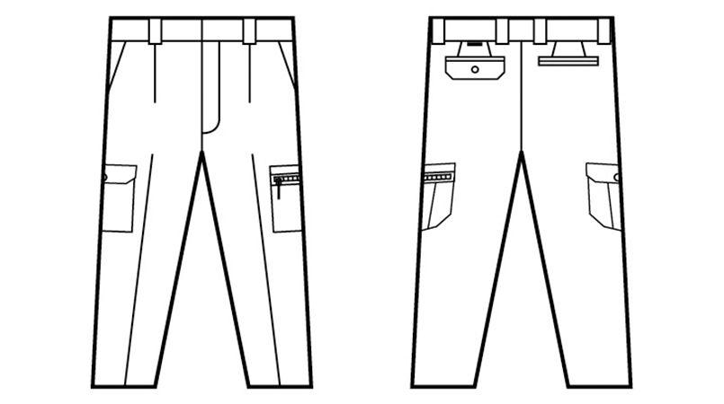自重堂 84802 [春夏用]吸汗速乾ワンタックカーゴパンツ ハンガーイラスト・線画