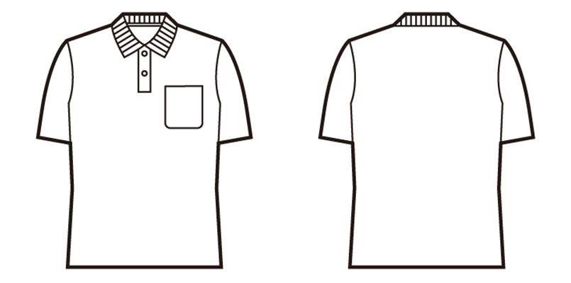 85854 自重堂 鹿の子半袖ポロシャツ[胸ポケット有り] ハンガーイラスト・線画