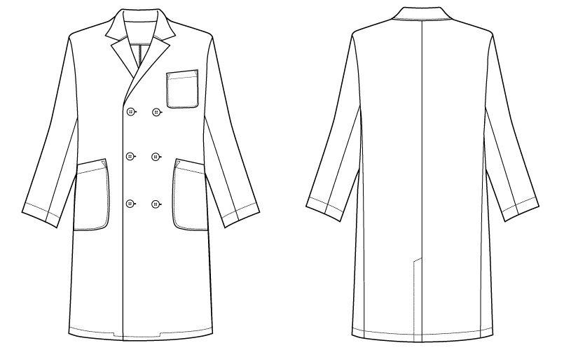 自重堂WHISEL WH10217 メンズダブルコート(男性用) ハンガーイラスト・線画
